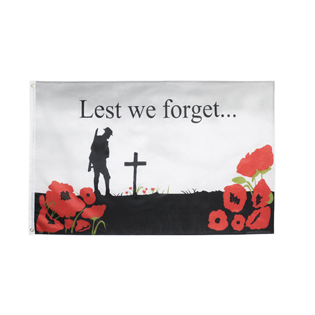Ready to ship 3x5FT polyester poppy remembrance lest we forget flag