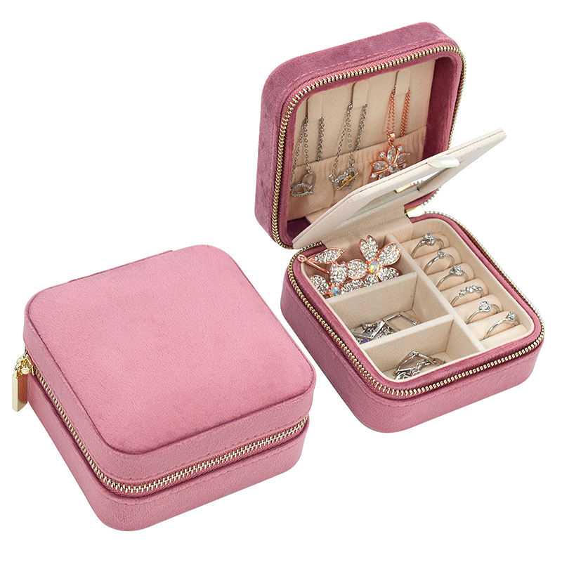 Travel Business Favors Pink Colors Velvet Jelewery Organizer Packaging Boxes Custom Logo Pu Leather Suede Portable Jewelry Case