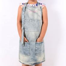 Custom washed denim kids kitchen cooking Baking apron