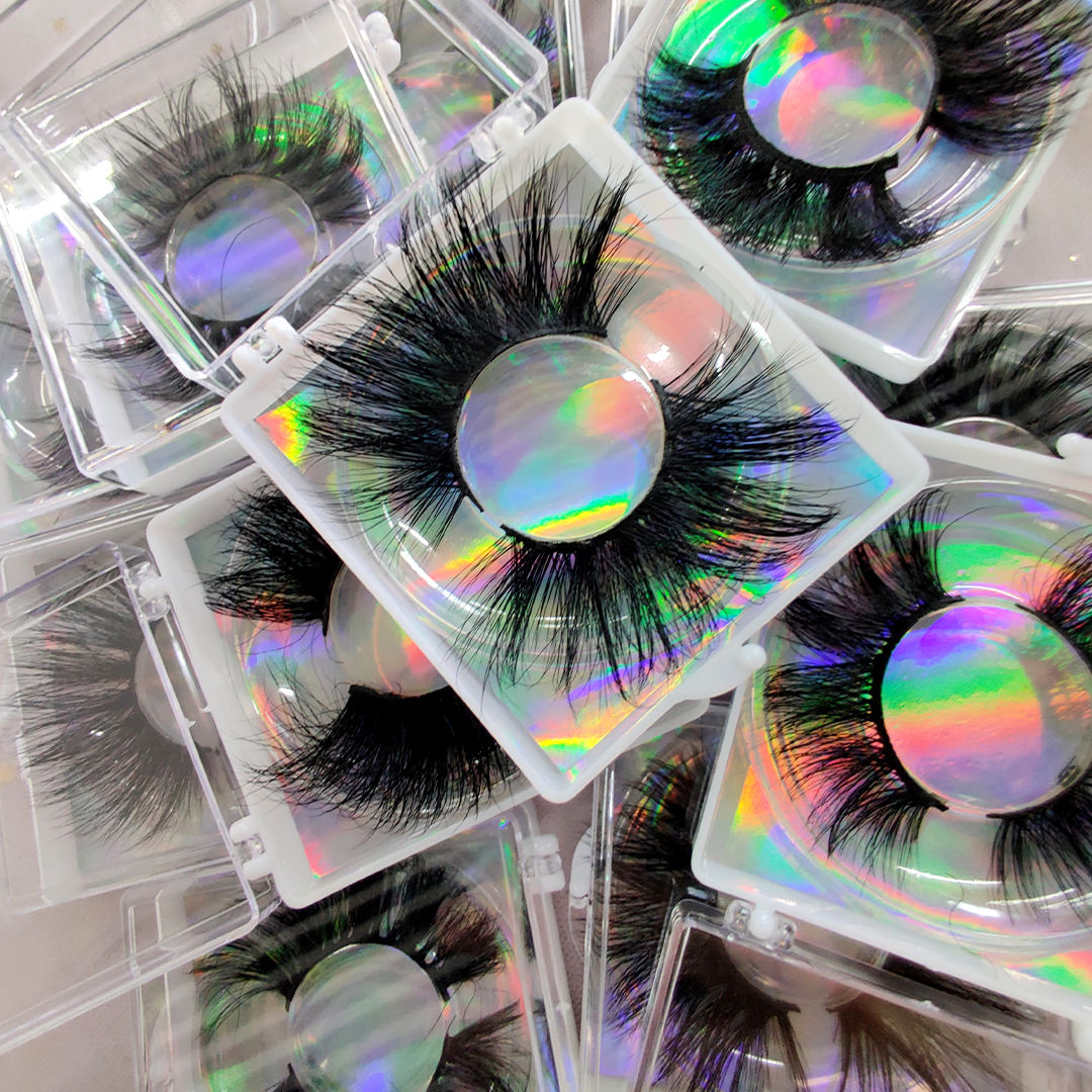 wholesale custom private label 25mm 30mm 3d 5d 100% real mink false eyelashes packaging vendors 25mm 6d faux mink eye lashes