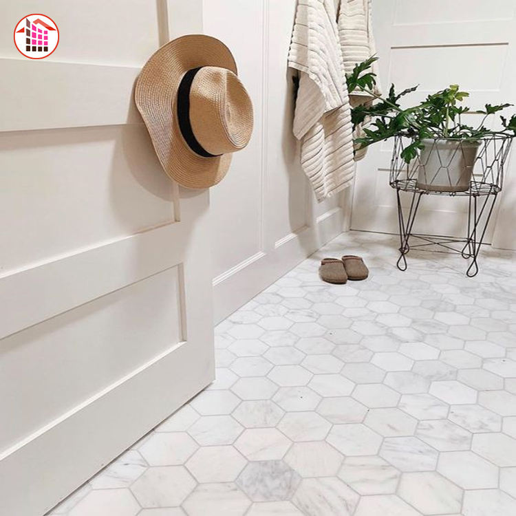 1Premium Hxagon Shape White Marble Mosaic Tile For Sale