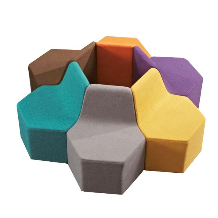Colorful Preschool sectional sofa kids stool pouf ottoman waiting sofa chair for children kindergarten