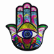 New Arrival Hamsa Hand Sequined Iron on Patches for Clothes DIY Garment Accessories Big Hand Eye Sequins Embroidery Appliques