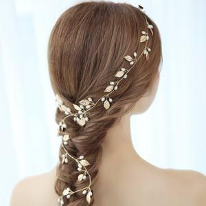Gold Leaves Design Long Bridal Headpiece Vintage Hair Vine Pearl Hair Accessories