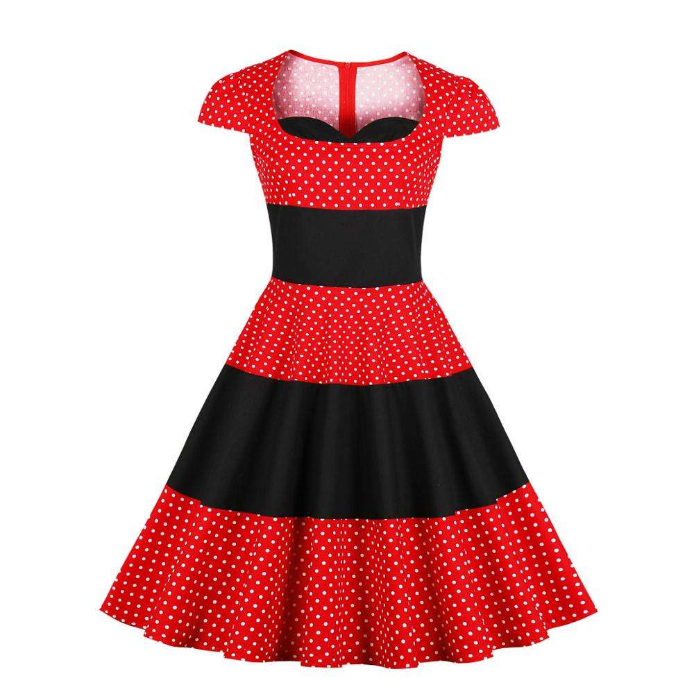 High Quality Vintage Women's Flared Dresses Red Polka Dot Print Casual Lady Clothing