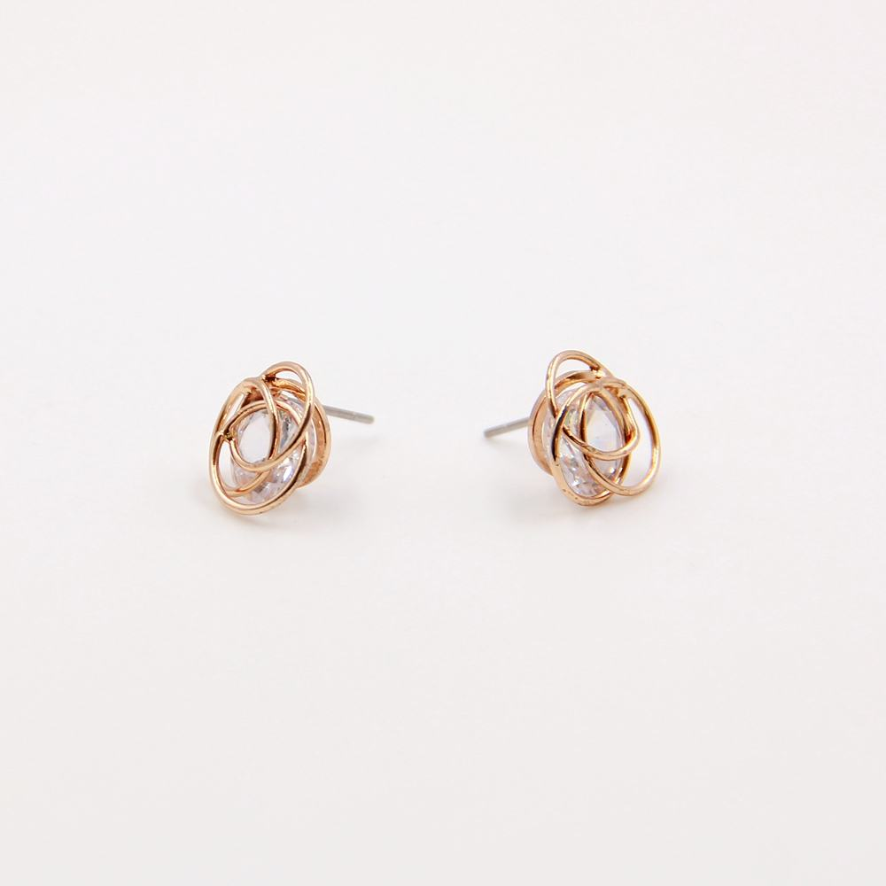 Top seller 18k gold plating hand inlaid cubic zircon stone in copper wire loop stud earrings