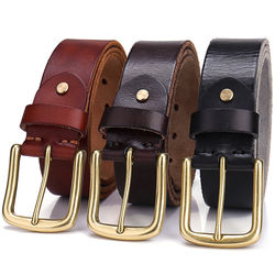 Vintage High Quality 3.8cm width solid brass buckle with pure cow leather belt