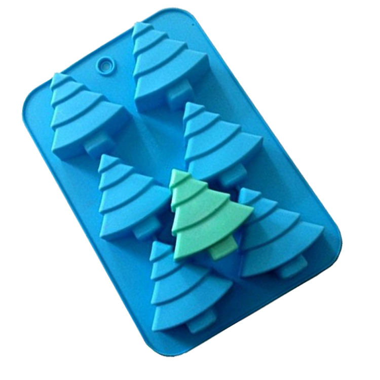 Custom Silicone Soap Mold, 6 Christmas Tree Silicone Cake Baking Mold Cake Pan Soap Biscuit Chocolate Ice Cube Tray Mold