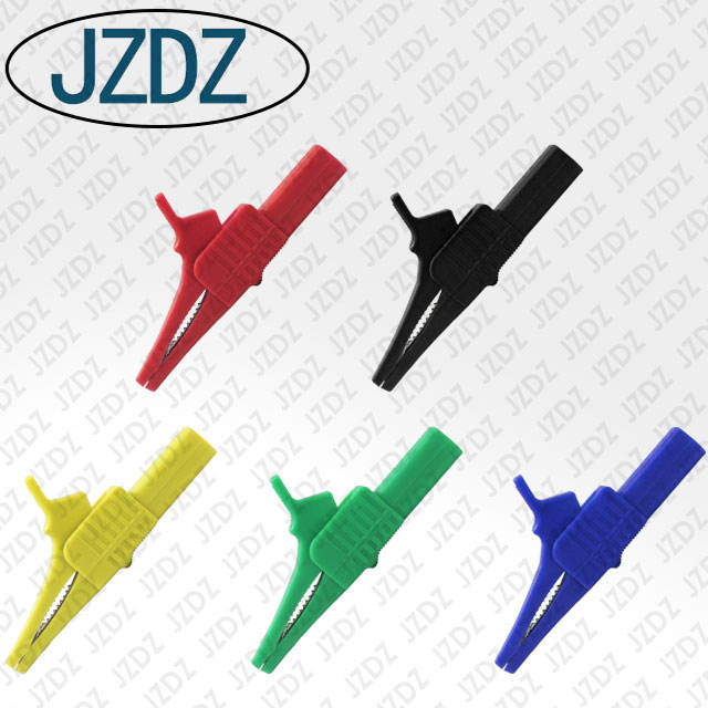 JZDZ J.60039 4mm safety banana jack gun test clip copper plated nickel insert insulation large safety alligator clip