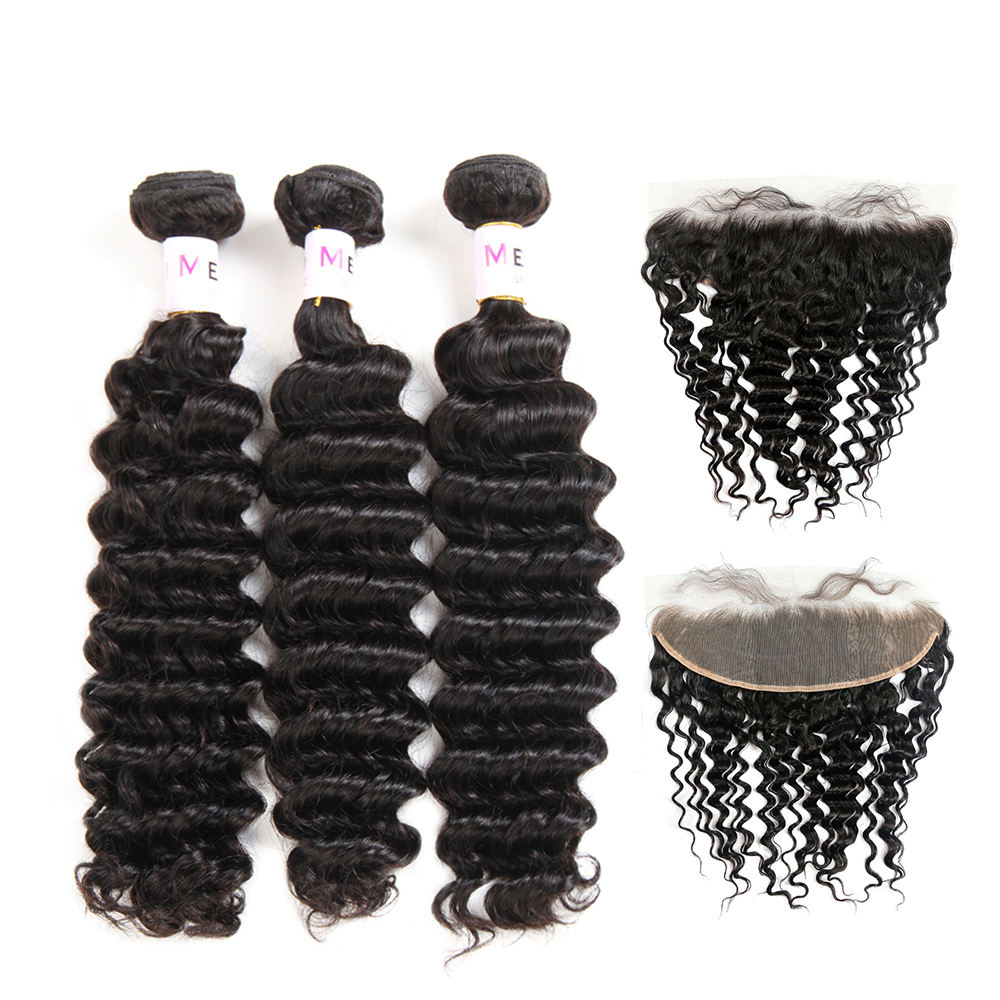 Deep wave 3 Human Hair bundle With 13x4 13x6 swiss Lace Frontal