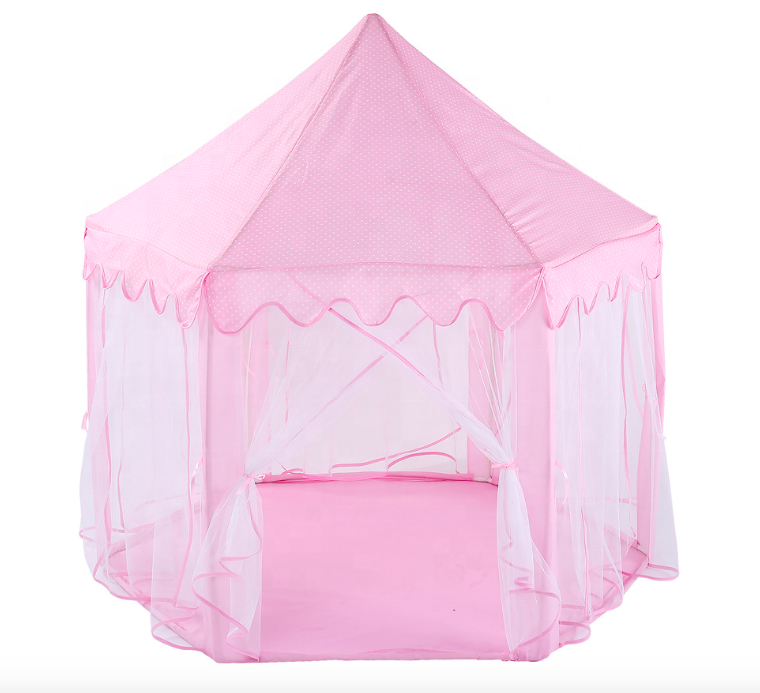 Castillos de princesa Portable Pop Up Fiberglass Princess Castle Tent, Pink kids girl play house, Pink Folding House Shape Tent