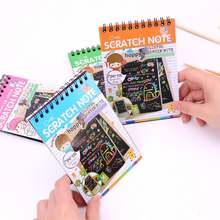 Free Shipping Scratch note Black cardboard Creative DIY draw sketch notes for kids toy notebook material Coloring Drawing Note B