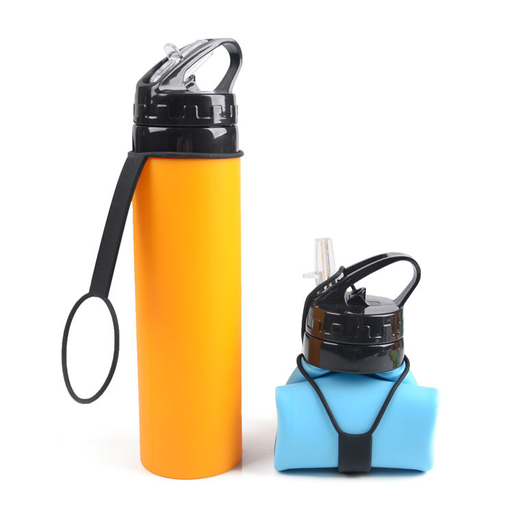 Gepai new product foldable 600ml outdoor sport pinchable food grade silicone water bottle portable water kettle