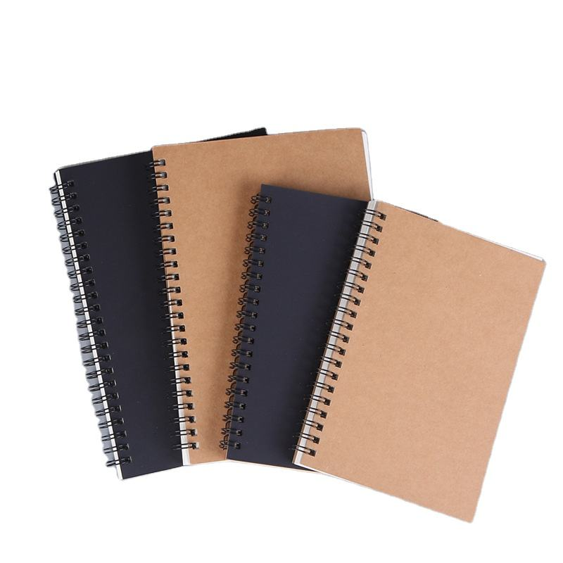 Promotional school supplies cheap notebooks hot selling Kraft paper cover recycled spiral notebook