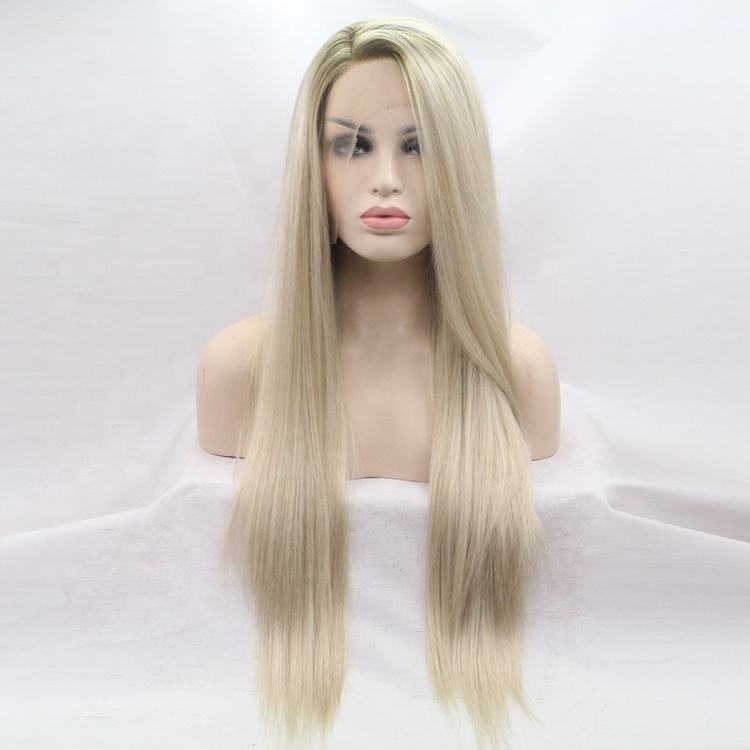 Factory Provide Directly Chemical Fiber Front Lace Long Straight Hair Wigs
