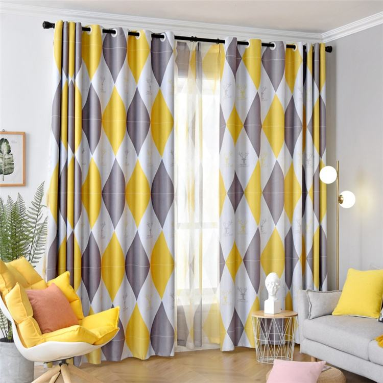 Nordic Yellow Geometric Printing Bedroom Living Room Home Decoration Sun Protection Hooks Polyester Blackout Window Curtain//