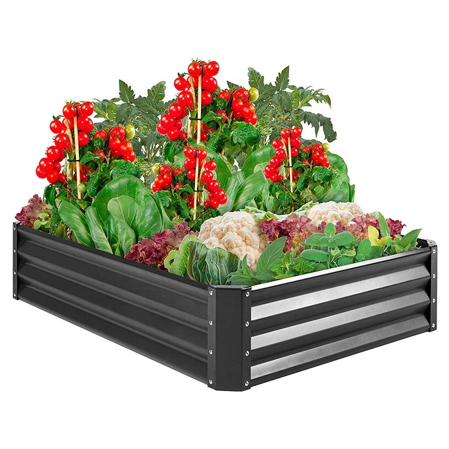 Rectangle Outdoor Galvanized Metal Planter Raised Garden Beds With Bottom For Gardening Vegetables Flower