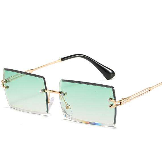 2020 Flat Top Sunglasses Brand Small Clear Sun glasses Transparent Rimless Women Sunglasses Clear Color