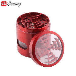 New style dry herb grinder tobacco 4 parts smoking factory wholesale manufacturer window design 63mm 4 layers metal grinder