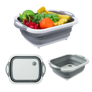 Plastic Multifunction Vegetable Cutting Board Collapsible Basket Non-slip Chopping Board