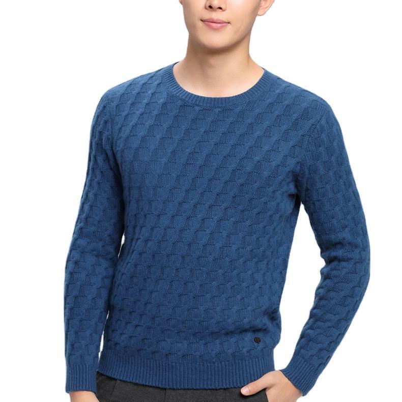 2020 Custom O-neck Jacquard thick winter Vintage Pure Cashmere sweater shirt men