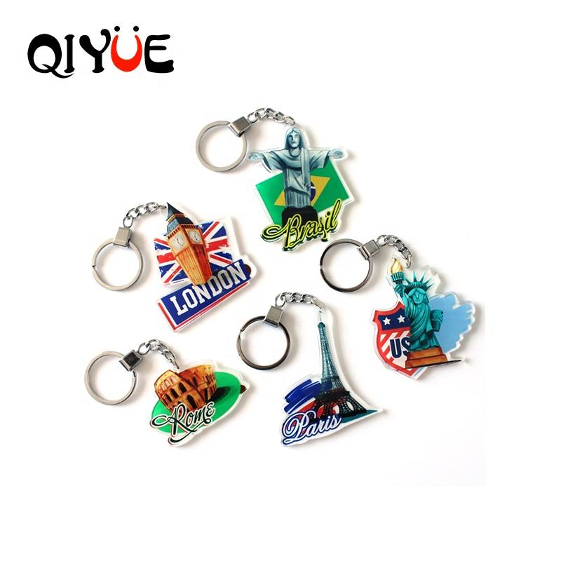 Online Sales 2020 Keyring City Sign Rome Paris Brazil Transparent Single-Sided Acrylic Key chain
