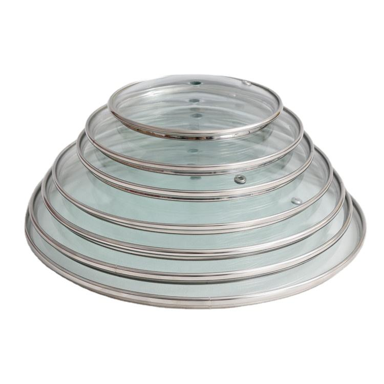 28 Cm Round Tempered Glass Pot Cover Lid With Stainless Steel Ring For Wok soup pot