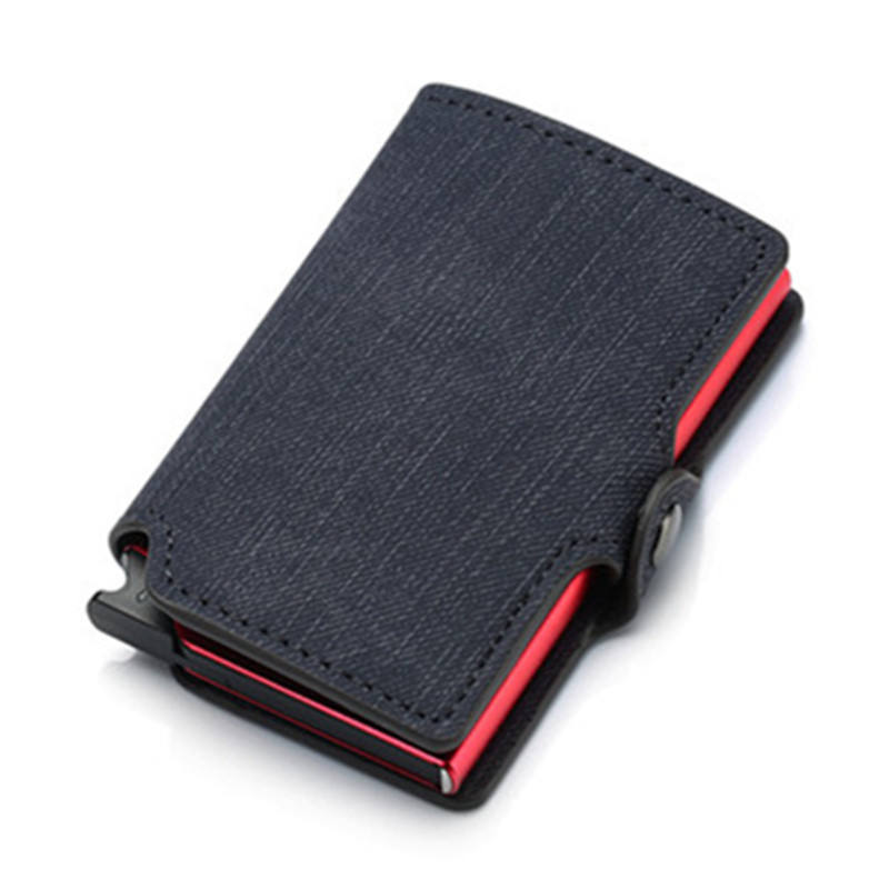 Credit Card Wallet New RFID Blocking Slim Card Holder PU Single Aluminum Box Business Hasp Card Case Slim Wallet