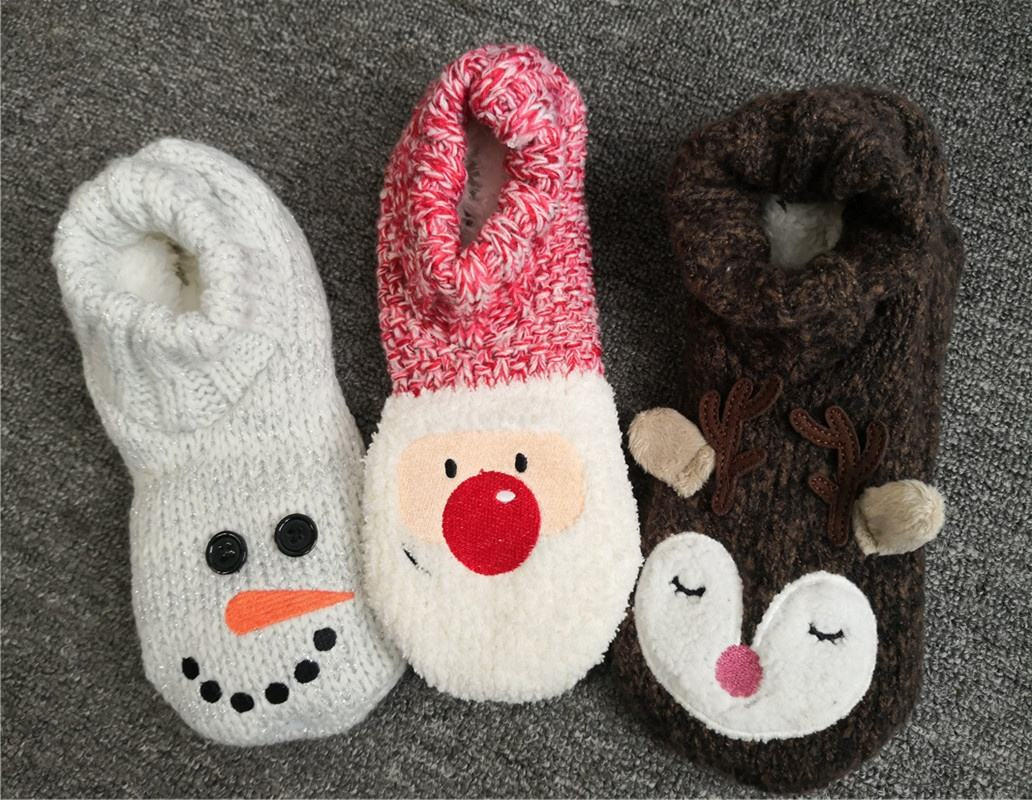 Women ladies winter warm thick sweater fuzzy knitted Christmas holiday xmas lounge slipper home socks w/ sherpa lining anti-slip