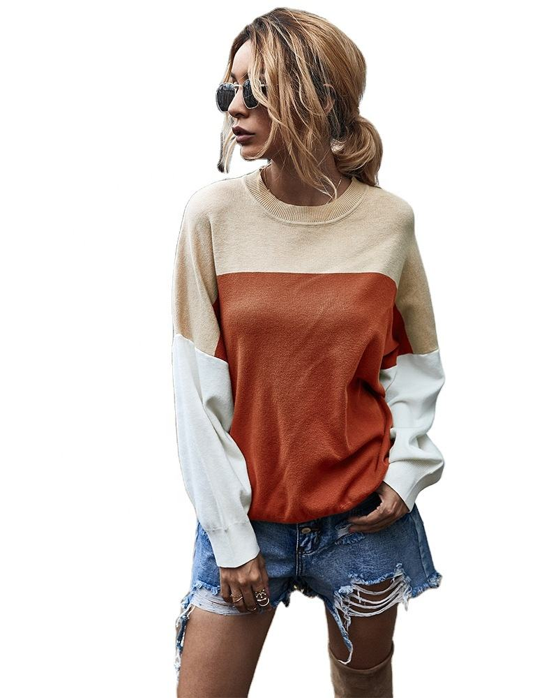 New autumn/Winter 2020 color contrast knitwear blouse for women