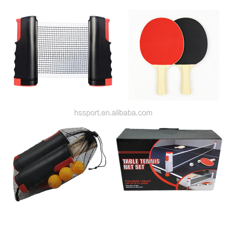 Cheap Plastic ping pong paddle+Retractable table tennis net, table tennis racket set