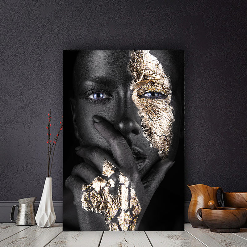 African Art Black Gold Woman Oil Painting on Canvas Cuadros Posters and Prints Scandinavian Wall Picture for Living Room Decor