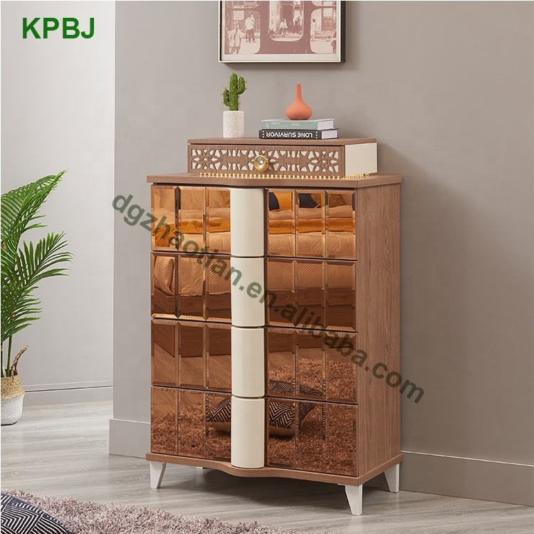 Storage [ Bedroom Sets ] Wood Wooden Bedroom Set Luxury Hotel / Home Wooden Golden Glass Mirrored Bedroom Furniture Sets