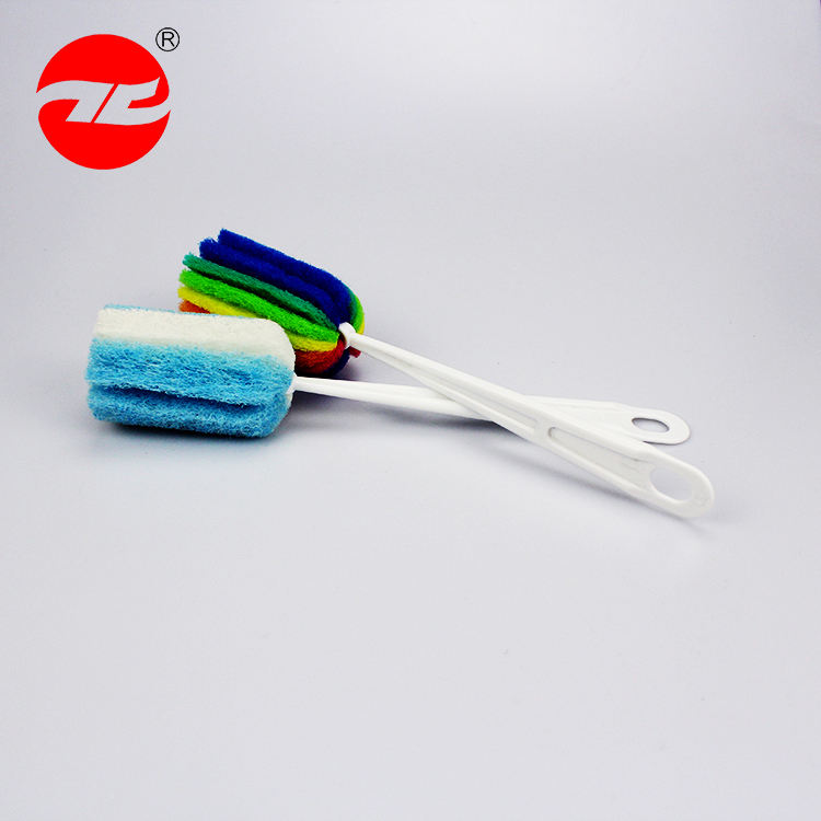 Oem High Quality Scouring Pad Retractable Plastic Handle Cup Bottle Brush
