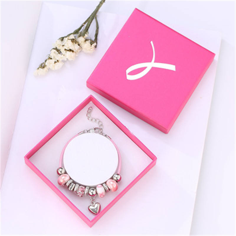 CJ-002 Retro Women Girl Bracelet Silver Charm Bracelet Pink Breast Cancer Awareness Ribbon Bracelet Wholesale