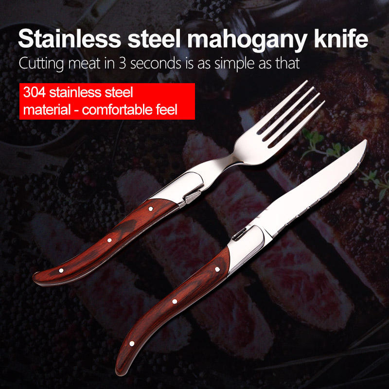 Cutlery Set Flatware Tableware Inox Amazon Hot Stainless Steel Silverware Flatware With Wooden Handle Restaurant Steak Knife Fork Spoon Cutlery Set