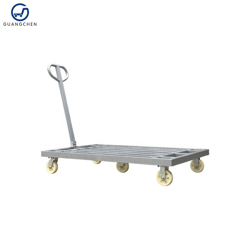 Large size workshop trolley 800kgs platform cart trolley steel heavy duty trolley manufacturer