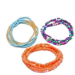 Fashionable handmade bead colored waist chain beach belly elastic rope waist bead chain women beaded bracelet