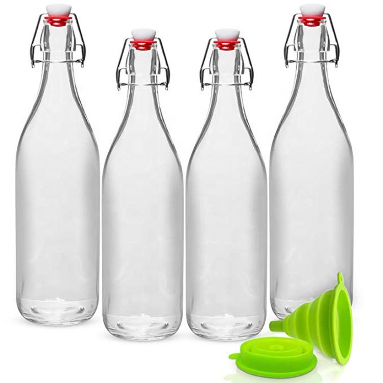 Hot Sell Set of 4 Giara Stopper Swing Top Glass Bottles for Beverages Oils Kefir Vinegar Leak Proof Caps