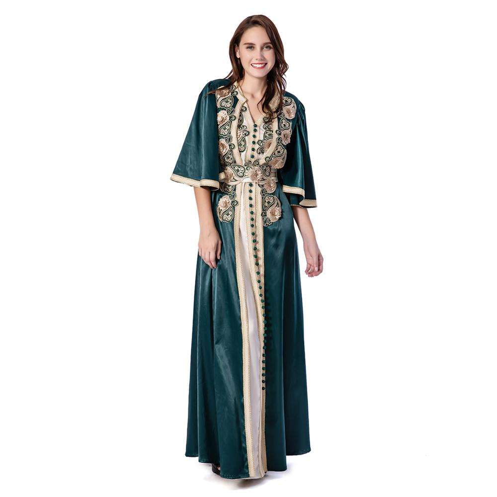 Front Opened Cloak Sleeves Two-Piece V-Neck Milk Silk Appliqued Luxury Muslim Kaftan Jalabiyah Embroidered Party Dress