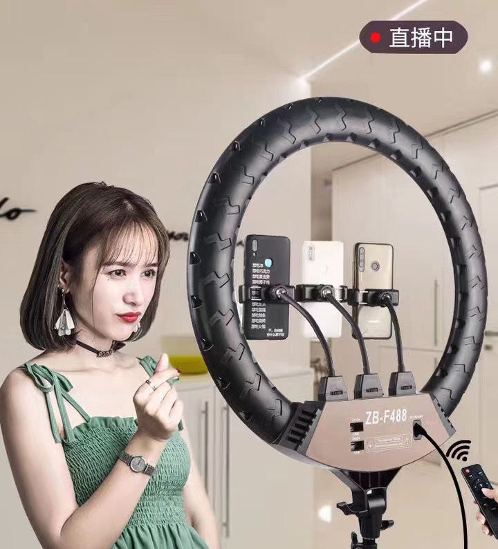 2020 new CPYP ZB-F488 22 inch Selfie Ring Light with Tripod Stand & Cell Phone Holder for Live Stream/Makeup 18 inch