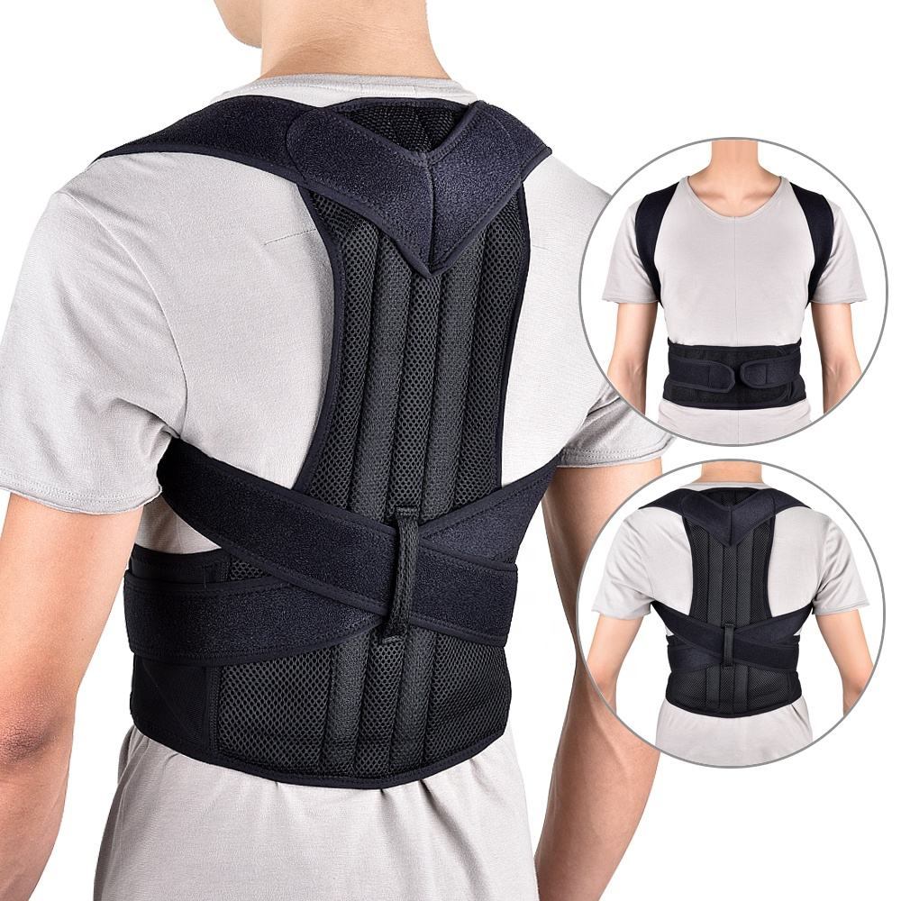 Upper Back Pain Relief Adjustable Size Back Brace Support Belts Posture Corrector with Waist Support Wide Straps