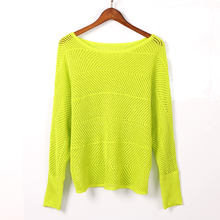 Ladies Hollow Pattern Knitted Sweater Autumn Women Thin Knit Pullover
