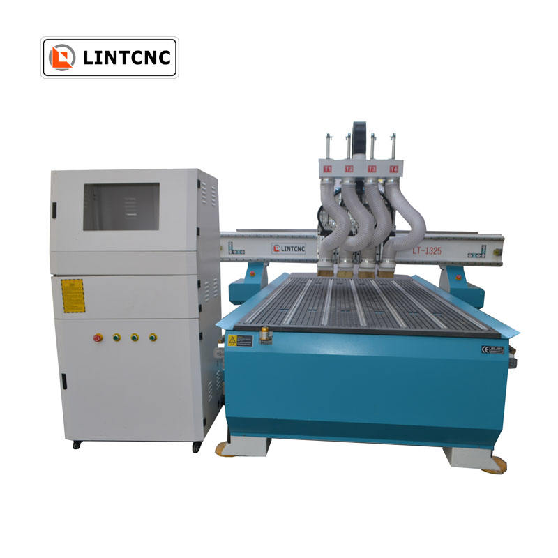 Pneumatic cnc router LT-1325 cnc machine with 4 spindles cnc cutting router machine do different work