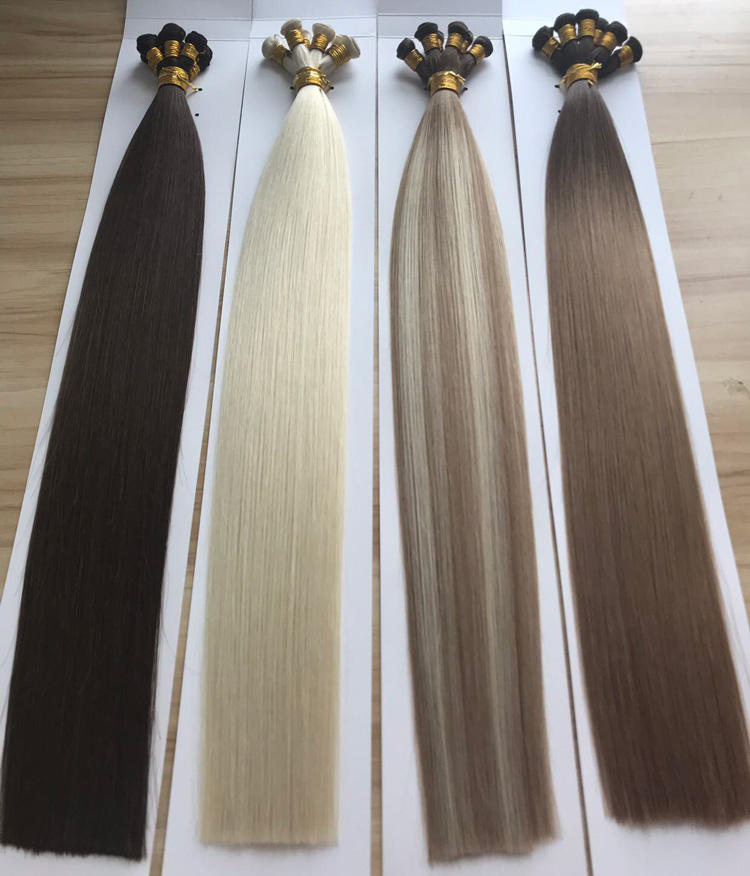 Remy Hand Tied Weft Hair Extension Virgin Remy, Seamless Volume Hand Sewn Weft, Double Drawn Hand Tied Weft European