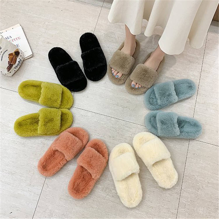 customize hot sale ladies women colorful fake fur lined home stylish bed slippers