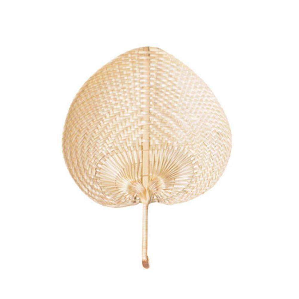 Pure Handmade DIY Heart Shaped Bamboo Woven Leaf Fan Summer Cooling Mosquito Repellent Hand Fans