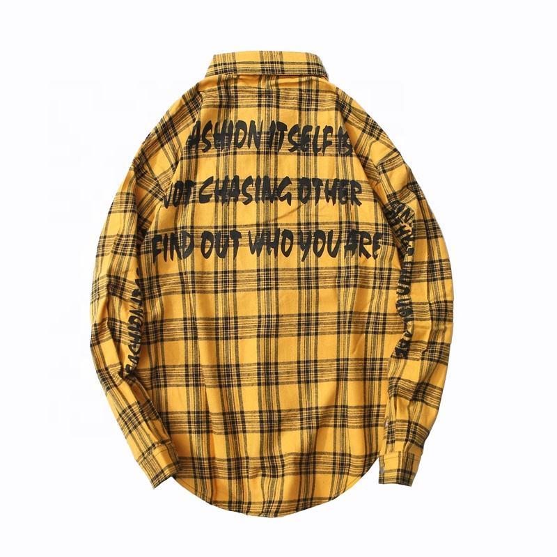 Low Price Streetwear Design Custom Color Printed Flannel Shirt for Men