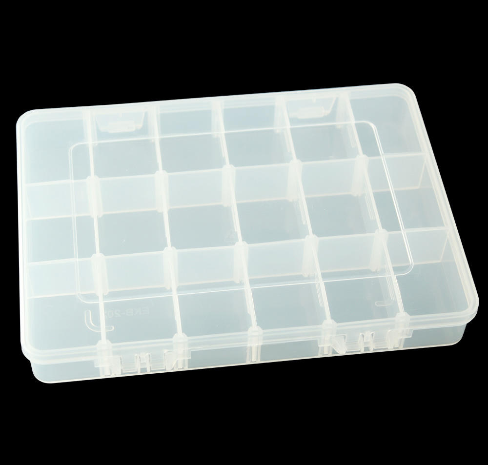 New Style Customized Logo Printing Plastic 24 Removable Compartments Storage Case Sorting Box SPC202