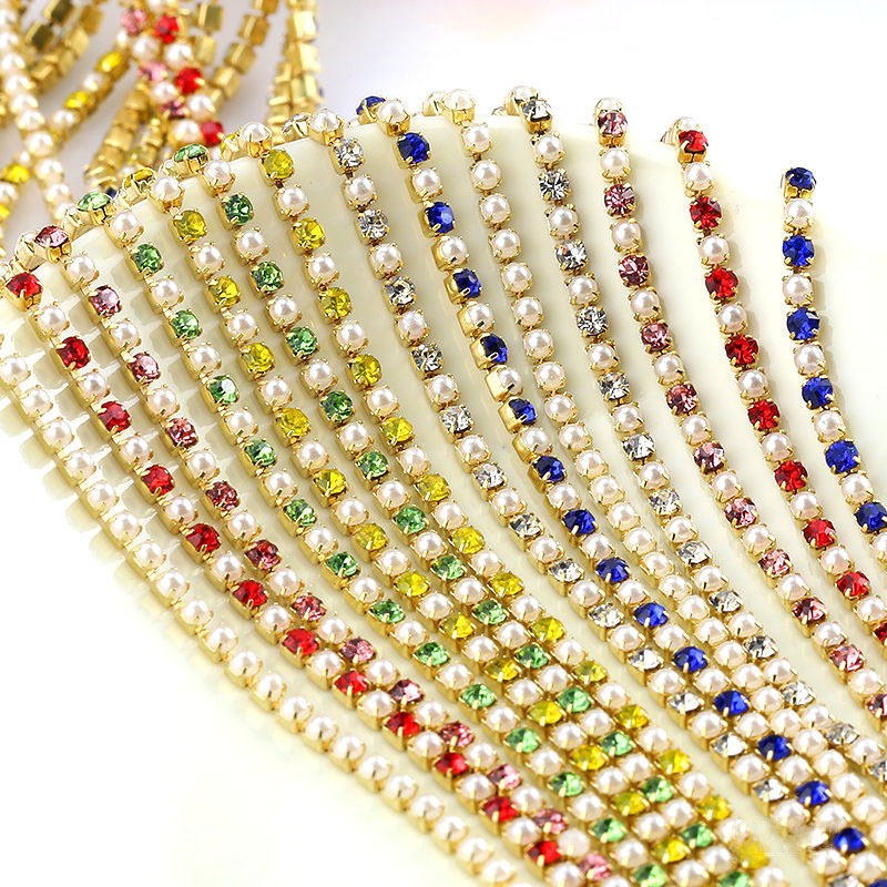 Wholesale Crystal Glass SS6 / 2mm Golden Base Rhinestone Cup Chain Close Chains Pearl Rhinestone Chain sew on Garment